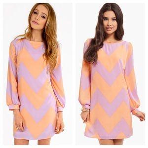 Peach & Lavender Chevron Dress